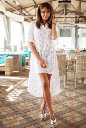 асимметричное платье из одиночной ткани