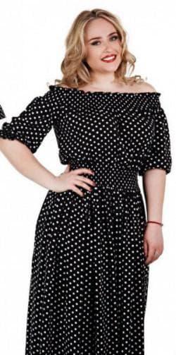 платье в пол с оголёнными плечами для полных