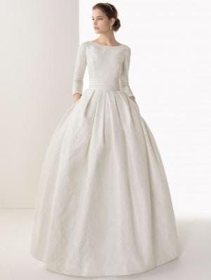 венчальное платье с длинным рукавом различной длины
