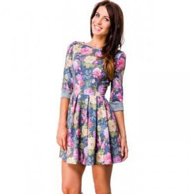 повседневное платье с цветным принтом