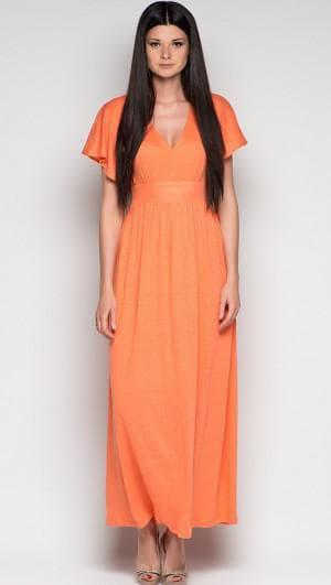 длинное платье для девочек 15 лет с V образным вырезом