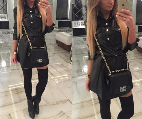 платья-рубашки из черной джинсовой ткани