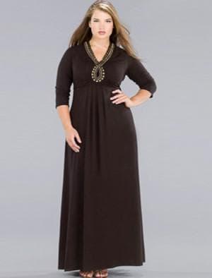 закрытое платье в пол с длинными рукавами для полных