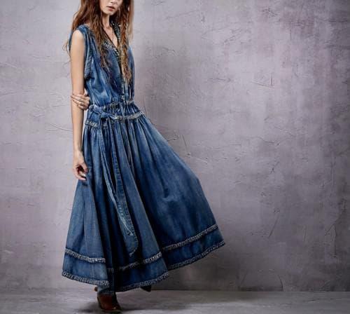 джинсовое платье хиппи-шик