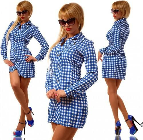 джинсовые платья-рубашки с клетчатой тканью
