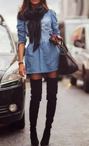 джинсовые платья-рубашки с сумочкой клатч