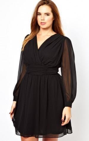 платье с рукавом с запахом для полных