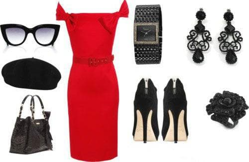 Аксессуары и обувь под красное гипюровое платье