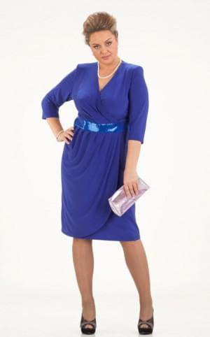 вечернее платье приглушенный синий для больших женщин
