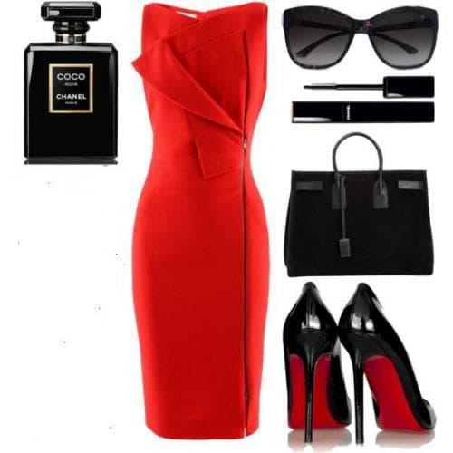 аксессуары и обувь для красного платья футляр