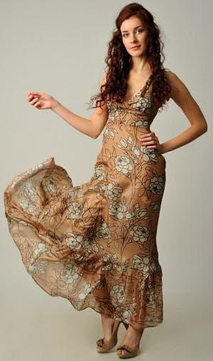 длинное итальянское платье из натурального шелка