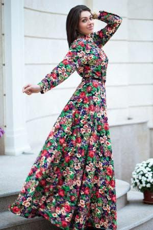 летние платья в пол с цветным принтом на каждый день