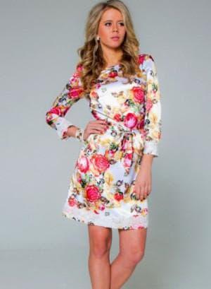 платье с цветами из шёлка