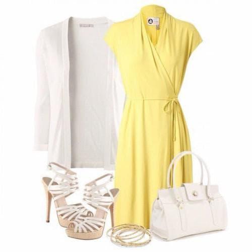 аксессуары и обувь белого цвета для желтого платья
