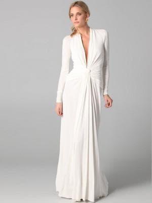 белое платье с рукавами в греческом стиле