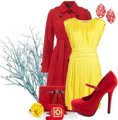 аксессуары и обувь красного цвета для желтого платья