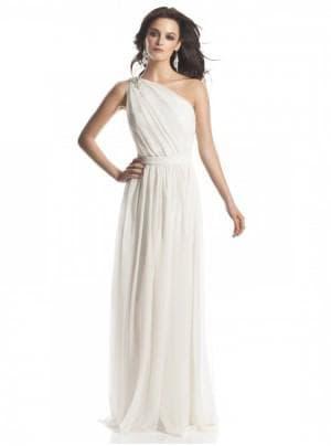 белое платье на одно плечо в греческом стиле
