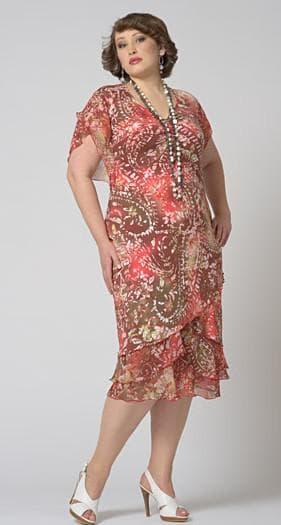 платье с круглым вырезом для больших женщин