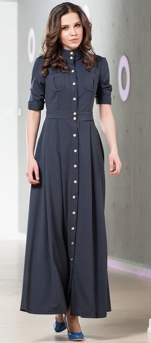 длинное приталенное платье рубашка
