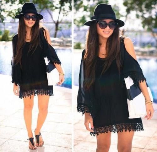 шляпа чёрного цвета для чёрного платья