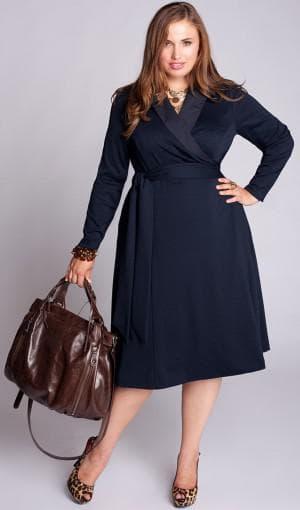 платье с запахом для больших женщин