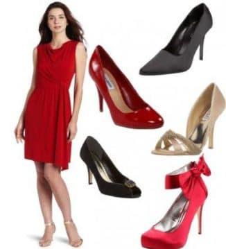 какое платье подойдет под красные туфли