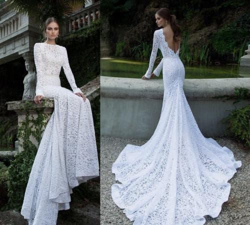 свадебное платье русалочка с открытой спиной