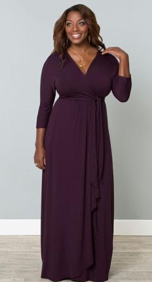 длинное платье с запахом для полных