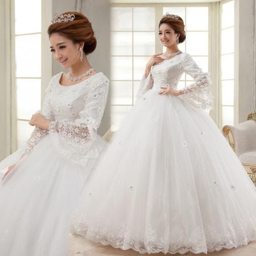 свадебные платья с длинным рукавом Принцесса
