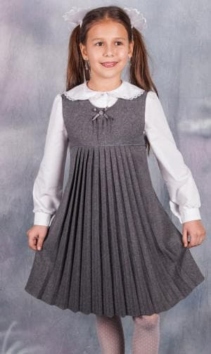 сарафан с классическим лифом и юбкой в складку для школы для девочек