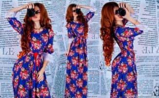 длинные платья из штапеля с рукавами