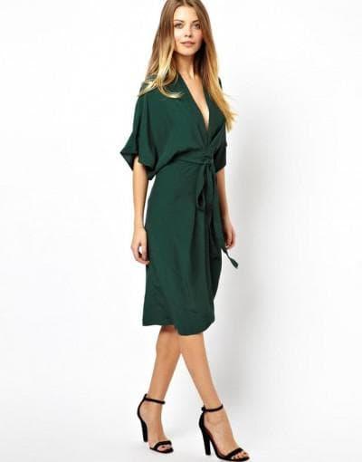 платье с запахом французской длины
