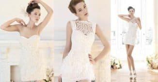 короткое свадебное платье из кружева для дам