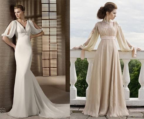 свадебные платья с длинным рукавом в греческом стиле