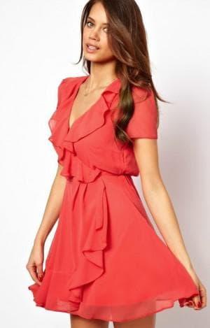 летнее платье из шифона с высоким вырезом