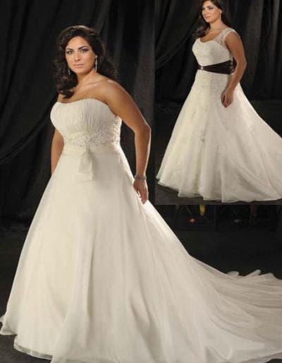 свадебные платья А силуэт для полных девушек