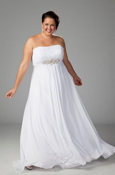 свадебные платья ампир для полных девушек