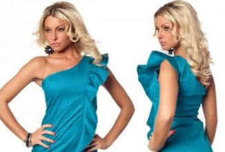 платье на одно плечо с воланом для дам