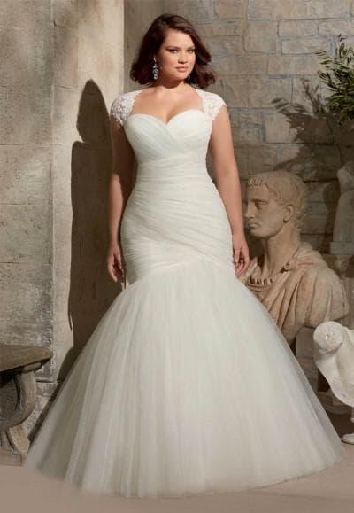 свадебные платья русалка для полных девушек