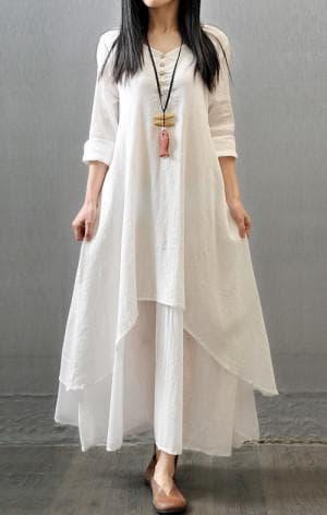 льняное белое платье бохо из италии