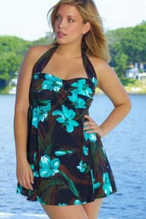 купальное платье с пышной юбкой