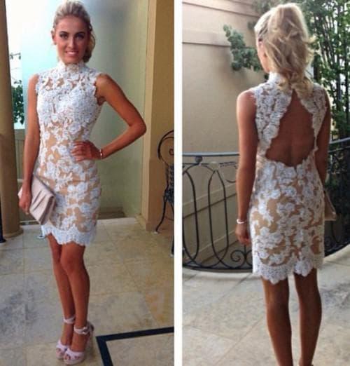 коктейльное свадебное платье с открытой спиной