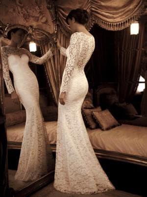 свадебные платья русалка с длинным рукавом