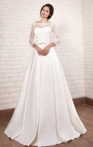 свадебные платья А силуэт с длинным рукавом