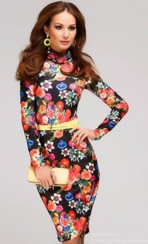 офисное платье с цветами