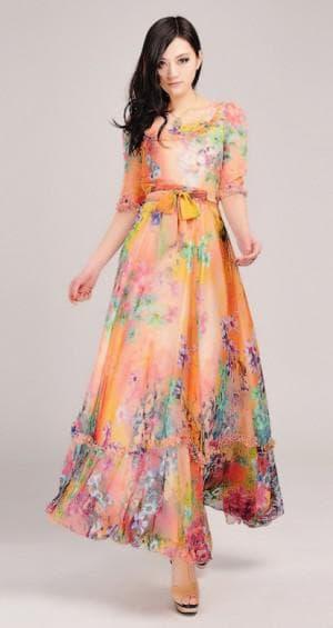 летнее платье из синтетического шифона