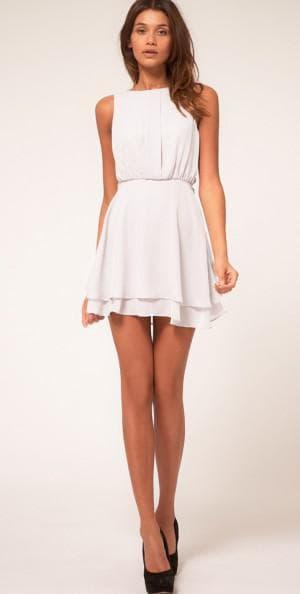летнее белое платье из шифона
