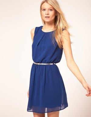 летнее синее платье из шифона