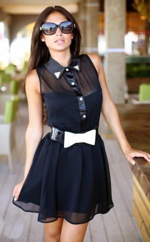летнее платье из шифона с бантом на поясе