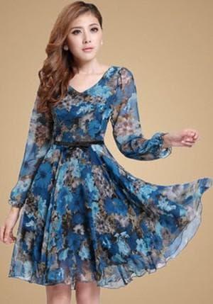 летнее платье из шифона с рукавами